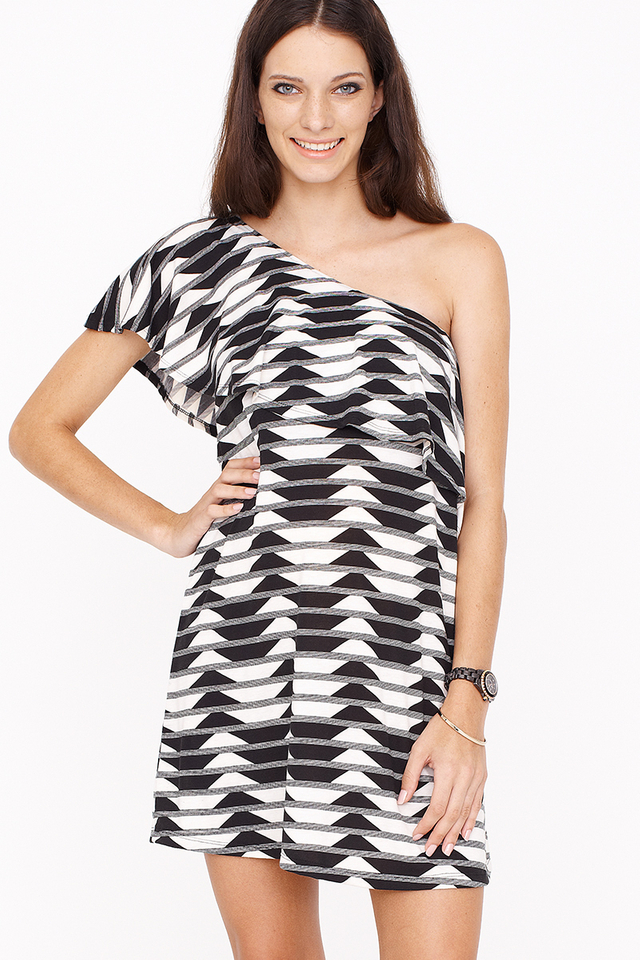 Leigh Dress Geo B/W