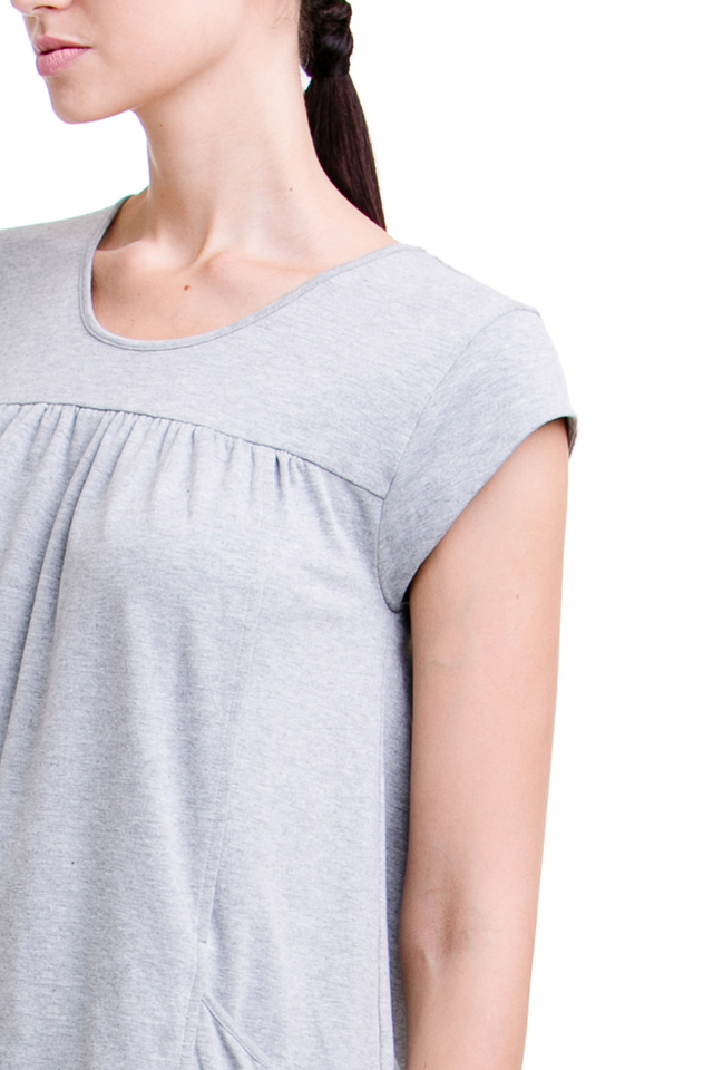 Lindsay Pocket Top Heather Grey