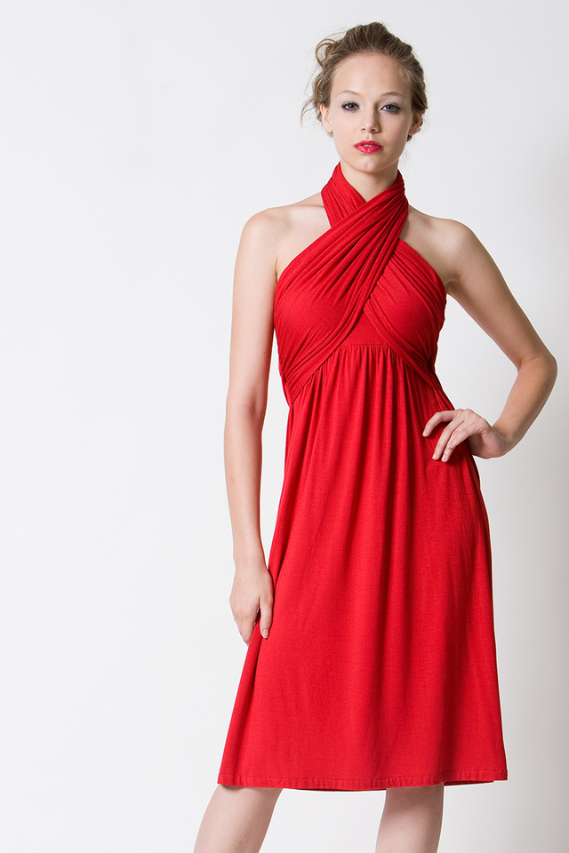 Sienna Halter Dress Red