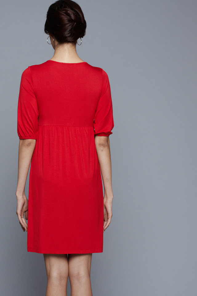 Esther Tab Dress Red
