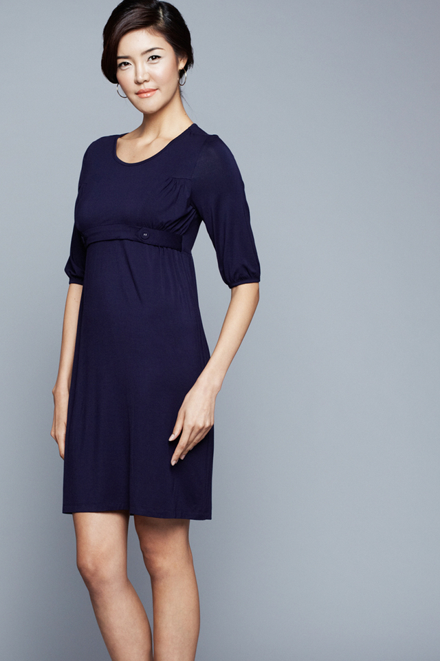 Esther Tab Dress Navy