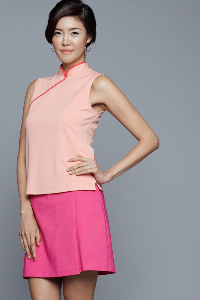 Lydia Mandarin Collar Top Peach