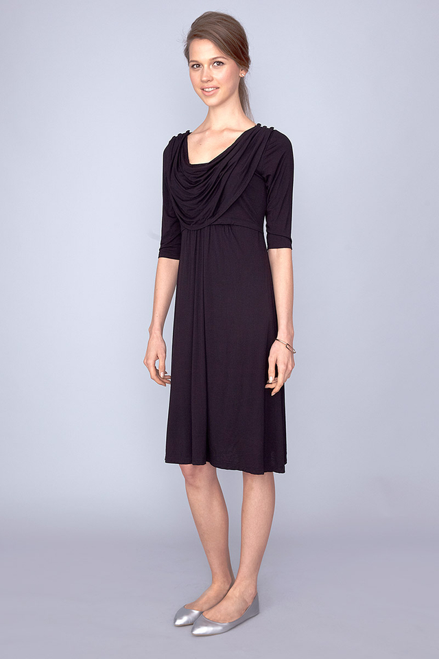 Miriam Cowl Dress Black