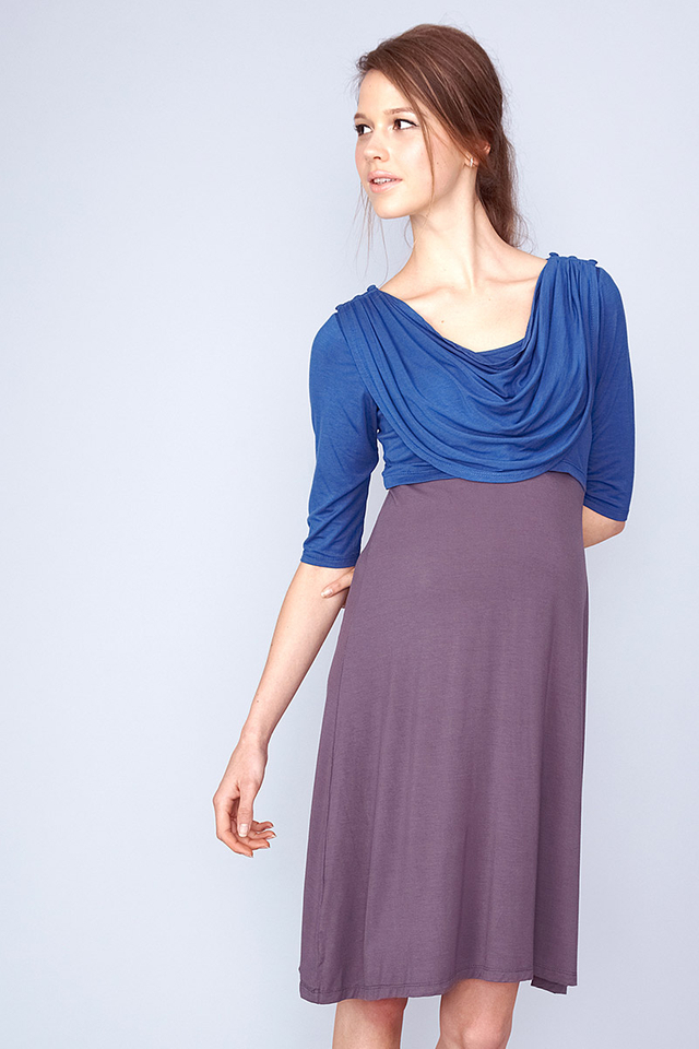 Miriam Cowl Dress Blue/Grey