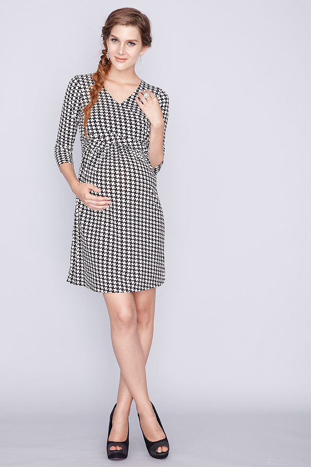 Lizzie Dress Navy Houndstooth