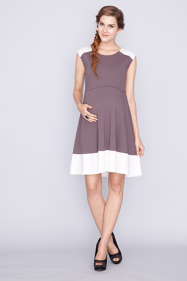 Contrast Swing Dress Grey/Cream
