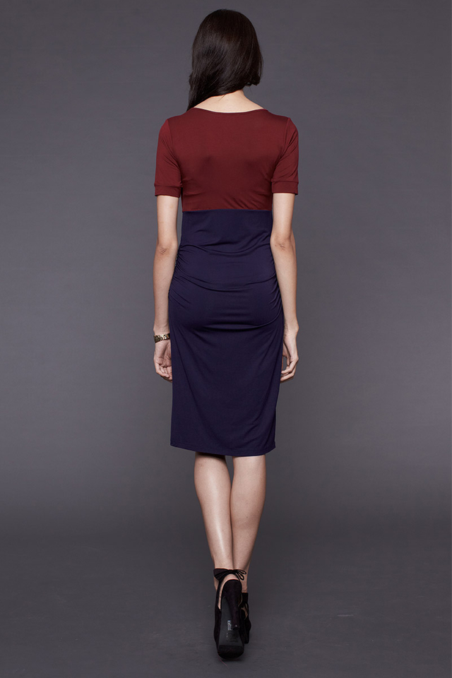 Mia Color Block Dress Wine/Navy