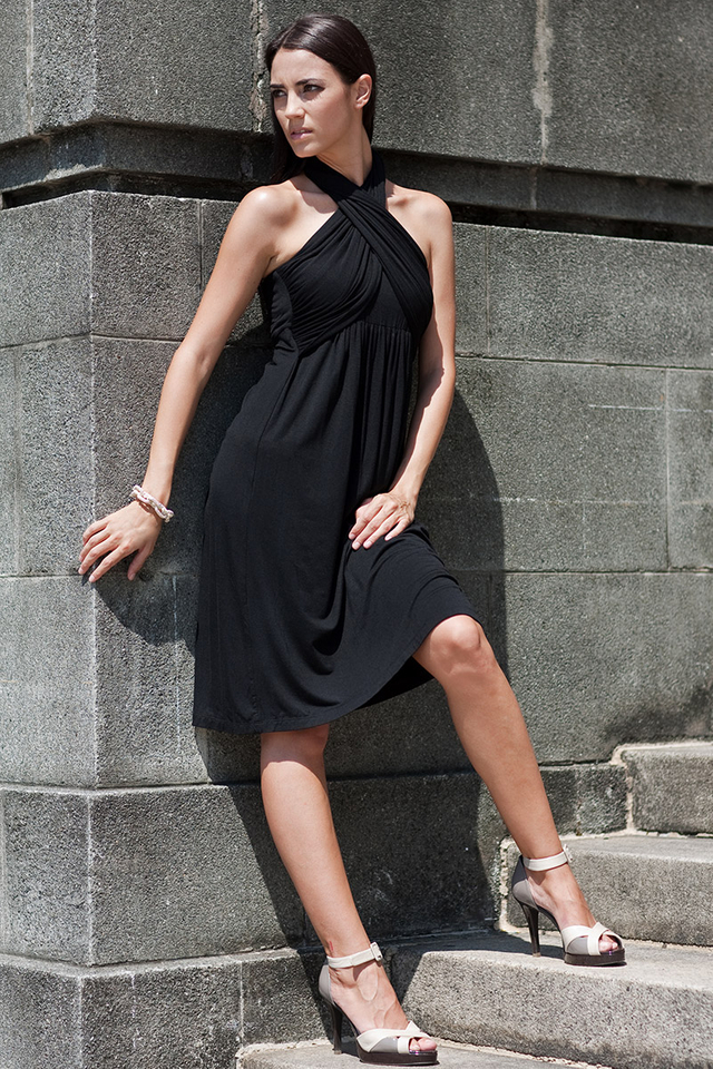 Sienna Halter Dress Black